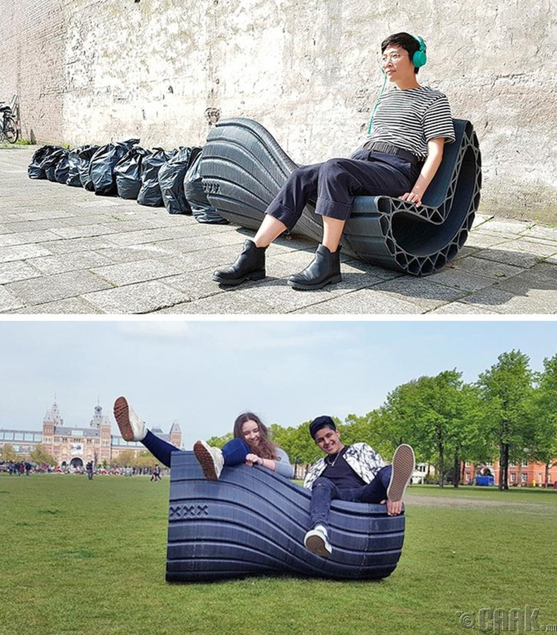 Амстердамд дахин боловсруулсан хуванцраар гудамжны сандал хийж эхэлжээ