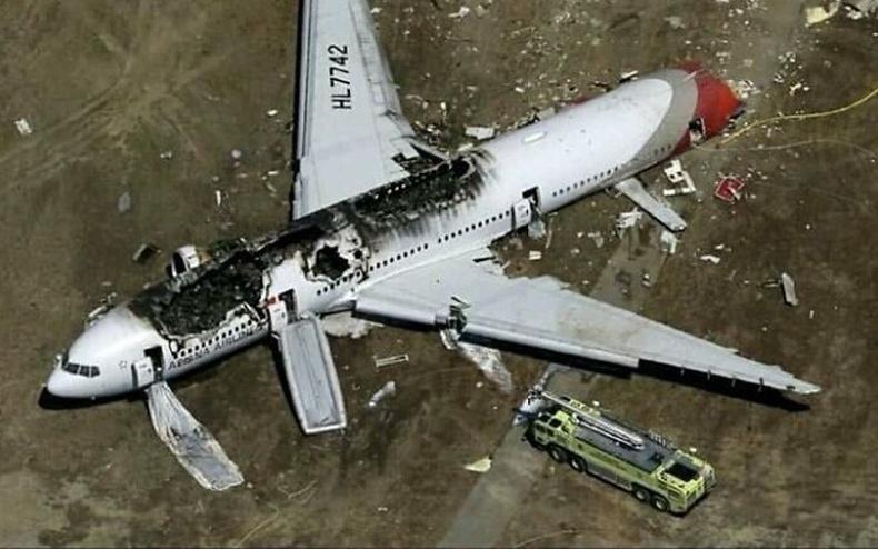 2013 онд Asiana airlines-ын онгоц осолдох үед нэгэн зорчигч эмэгтэй шатаж буй онгоцноос гарч гүйжээ