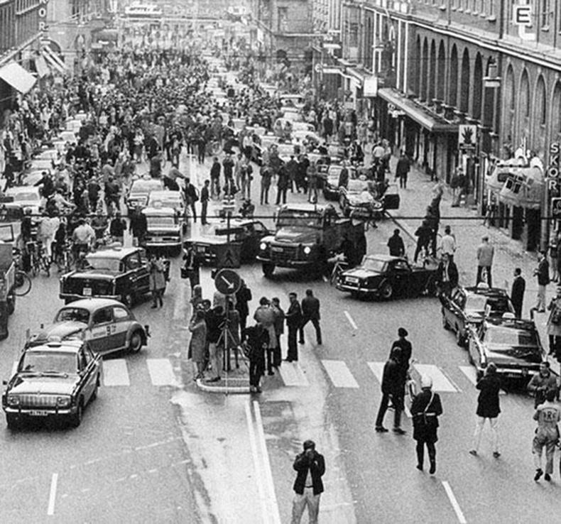 Замын хөдөлгөөнийг зүүн гарын дүрмээс баруун гарын дүрэм рүү шилжүүлсний маргааш, Швед (1967)