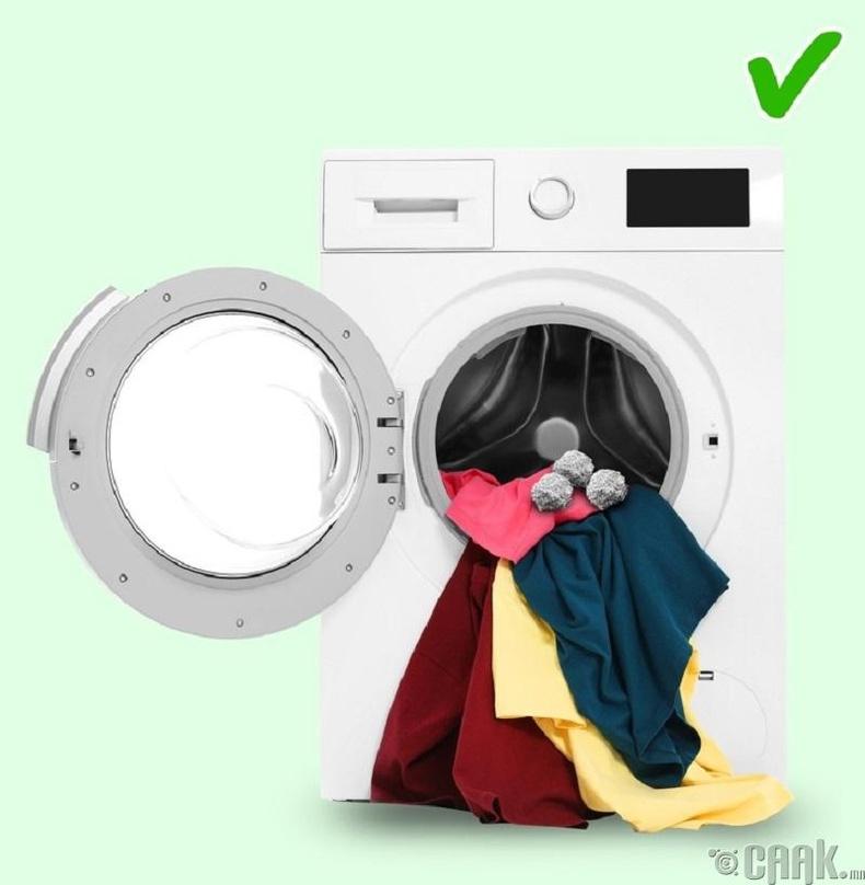 Тугалган бөмбөг угаалгын машинд хийх