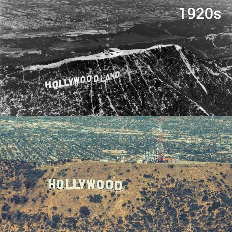 1920-иод онд болон одоо үед Холливудын тэмдэг