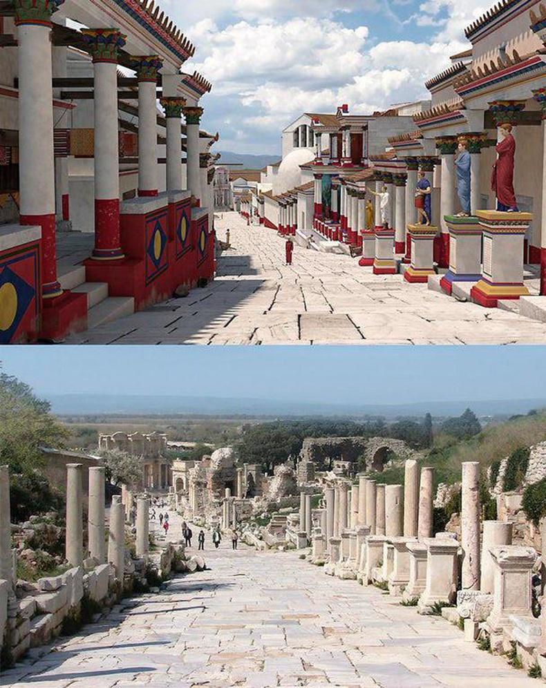 Эртний Грекийн хотын гудамж ингэж харагддаг байжээ (Эфес хотын туурь, Турк)