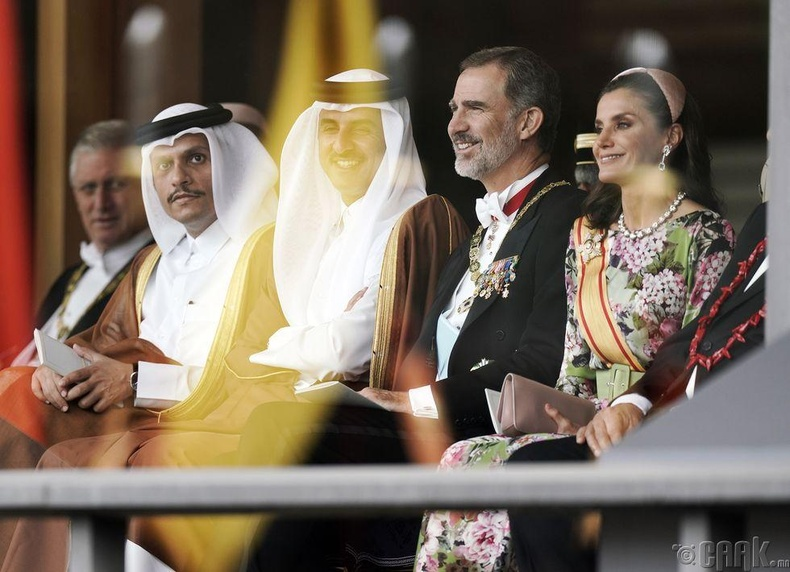 Испанийн эзэн хаан Фелипе VI, хатан хаан Летизия, Катарын Эмир нар