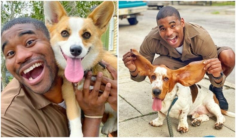 Тааралдсан нохой бүртэй зураг авахуулдаг шуудан хүргэгч (30 фото)