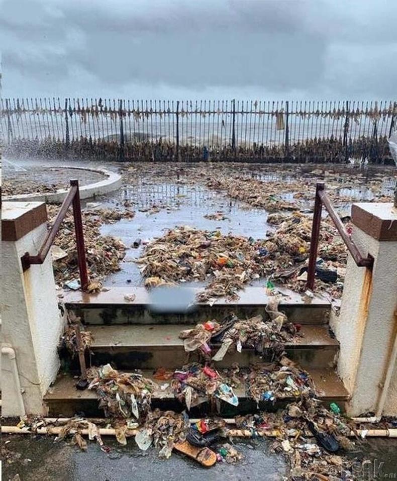 Мумбайд болсон хар салхи хүмүүсийн далайд хаясан хогийг эрэг рүү буцааж гаргажээ