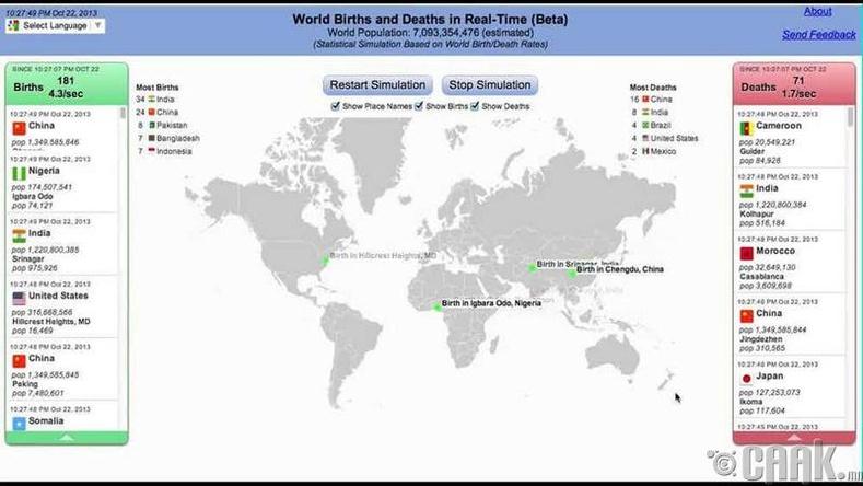 Дэлхийн хүн амын төрөгсөд, үхэгсдийн тоо