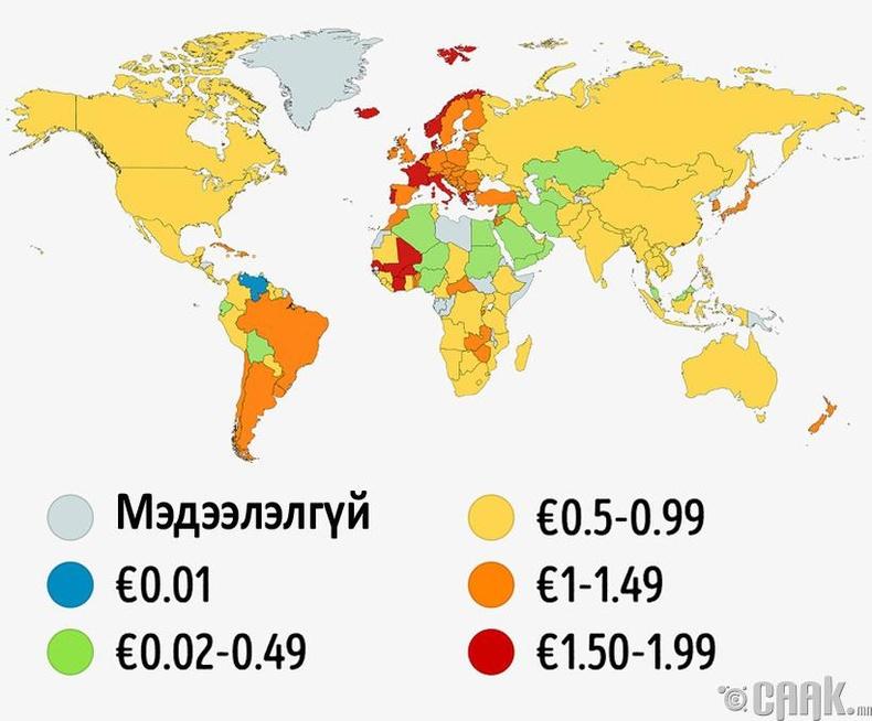 1 литр бензиний үнэ улс орон бүрт хэд байдаг вэ?