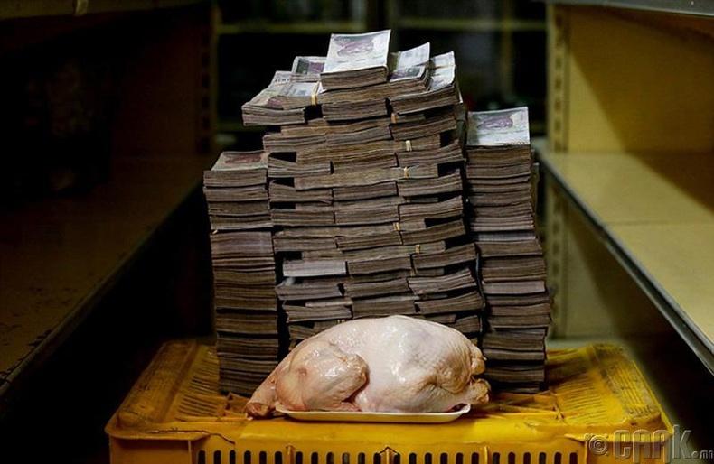 Нэг тахианы махны үнэ - 14 сая боливар буюу 2.2 ам.доллар