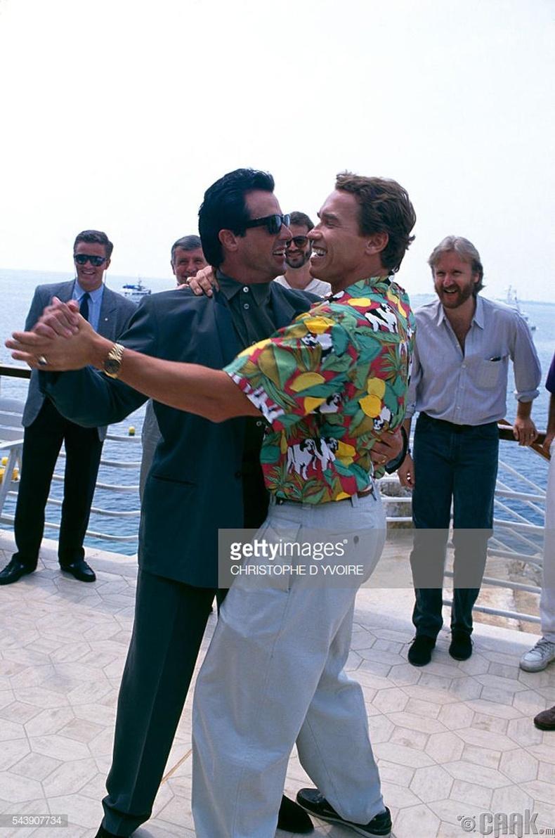 Силвестр Сталлоне, Арнольд Шварцнеггер (Arnold Schwarznegger, Sylvester Stallone) нар 1991 оны Канны кино наадмын үеэр