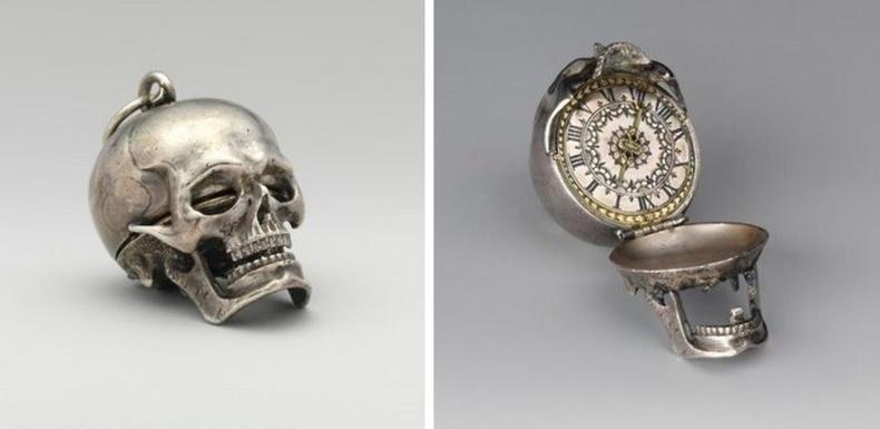 Цаг урлагч Исаак Пенарийн бүтээсэн гавлын ясан цаг.МЭ 1650 он