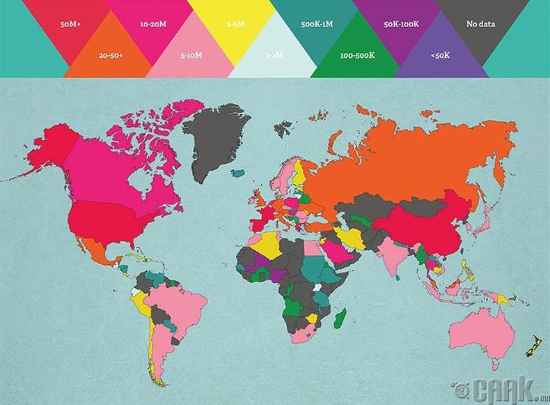 Дэлхий нийтийн дунд хамгийн алдартай улсууд