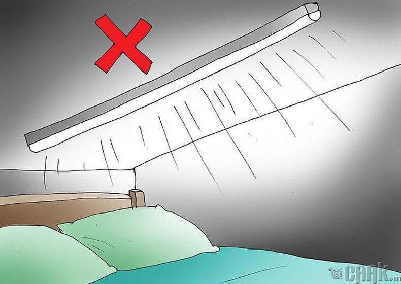 Сэнс, агаар цэвэршүүлэгч зэргийг орны чанх доор тавьж болохгүй.