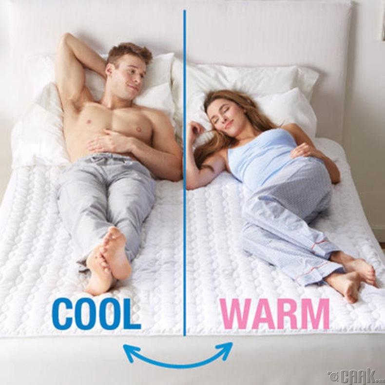 Хүйтэн, халуун хоёр температурт хуваагддаг матрасс