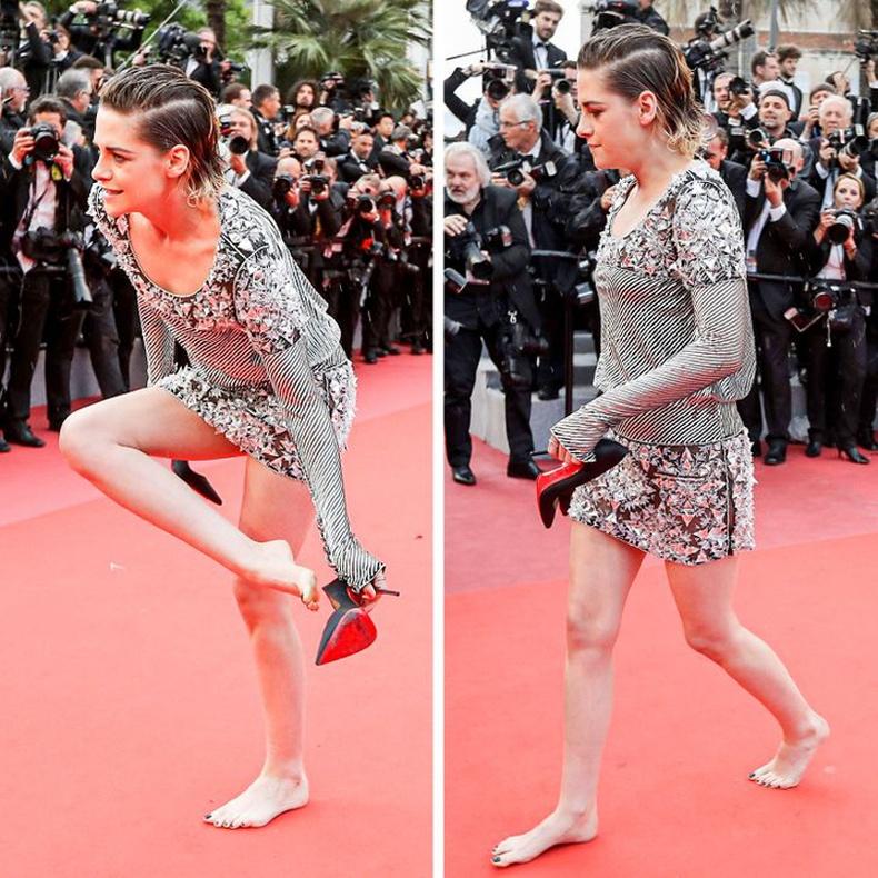 Одод ч гэсэн өндөр өсгийтөөс төвөгшөөдөг. Кристен Стюарт улаан хивсний ёслол дээр гутлаа тайлан алхаж байгаа нь.