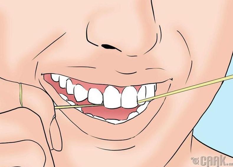 Шүдэн завсар орсон хоолны үлдэгдлийг цэвэрлэх
