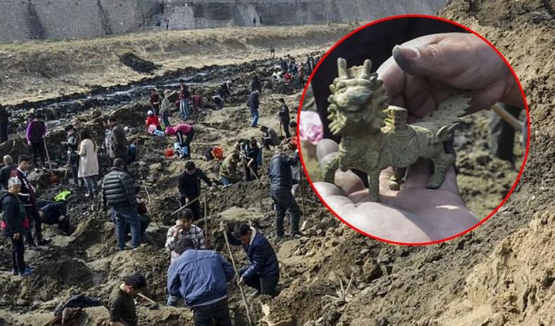"""Хятадын эртний усан сувгийн ёроол дахь олдворуудыг иргэд очин """"хуу хамжээ"""""""