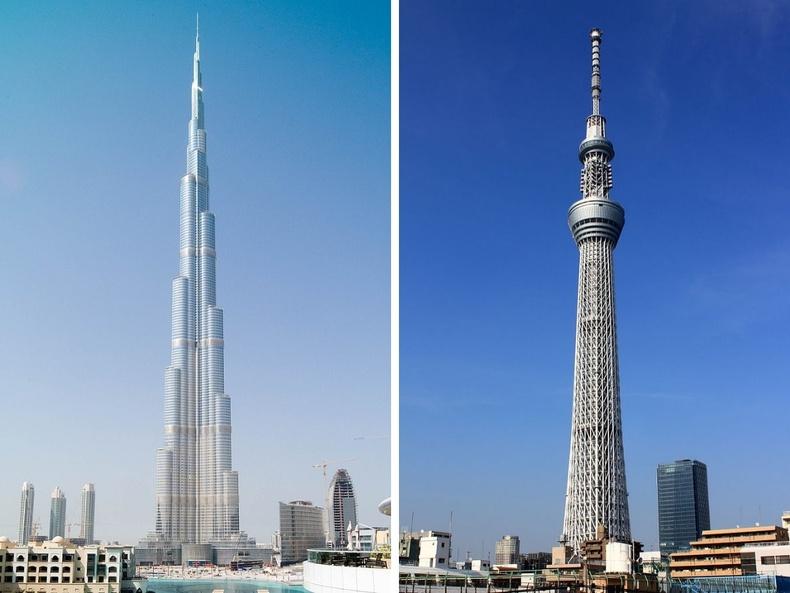 Бурж Халифа (Дубай, АНЭУ), Токио Skytree цамхаг  (Токио, Япон)