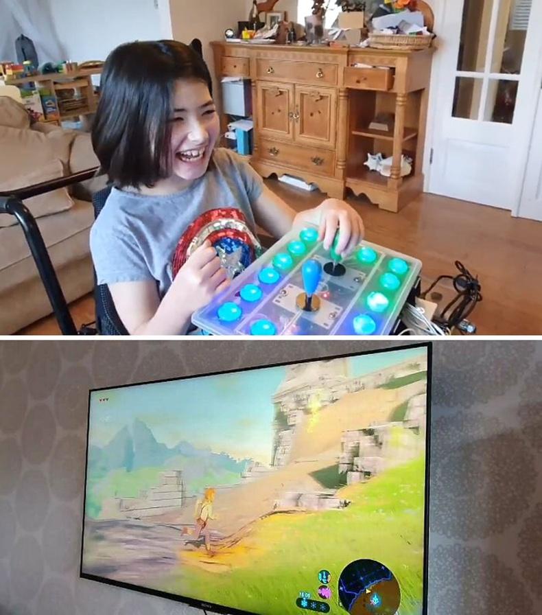 Хөгжлийн бэрхшээлтэй охиноо видео тоглоом тоглуулахын тулд тусгай гар хийж өгчээ