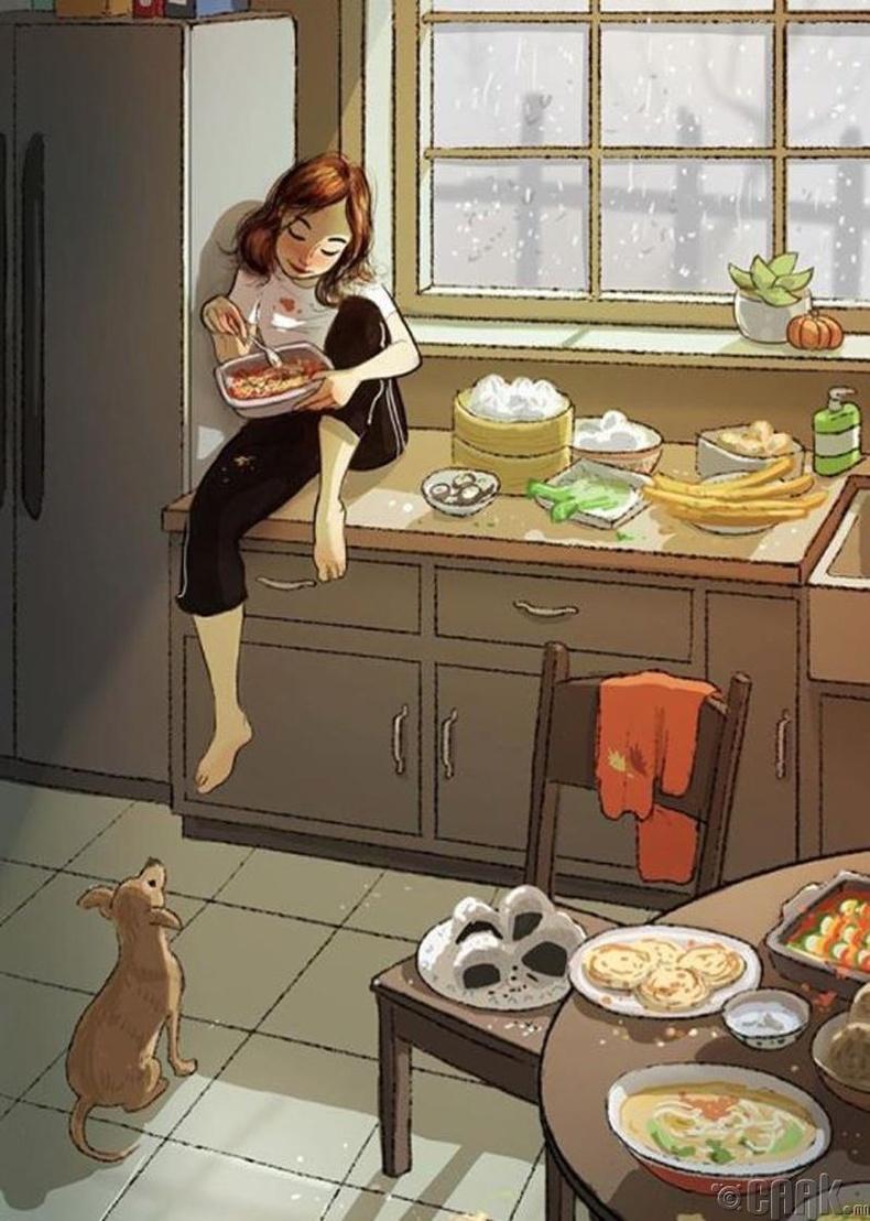 Зөвхөн өөртөө зориулан хоол хийж, хэнээс ч санаа зовохгүй идэж болно