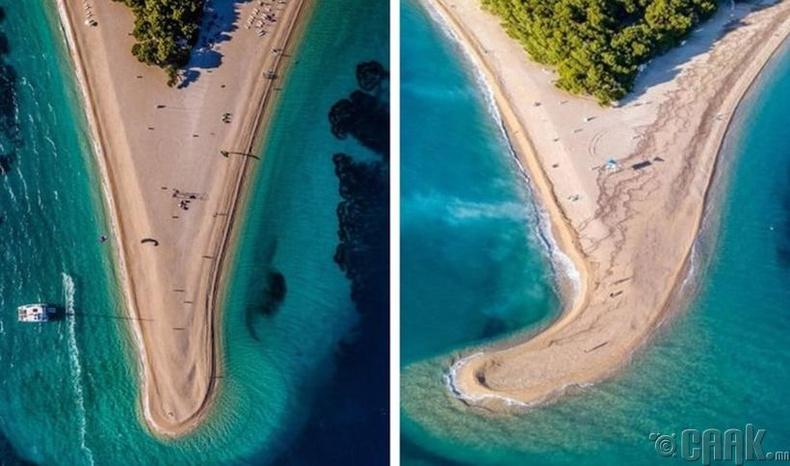 Хорватын Брак арал далайн хар салхины өмнө ба дараа