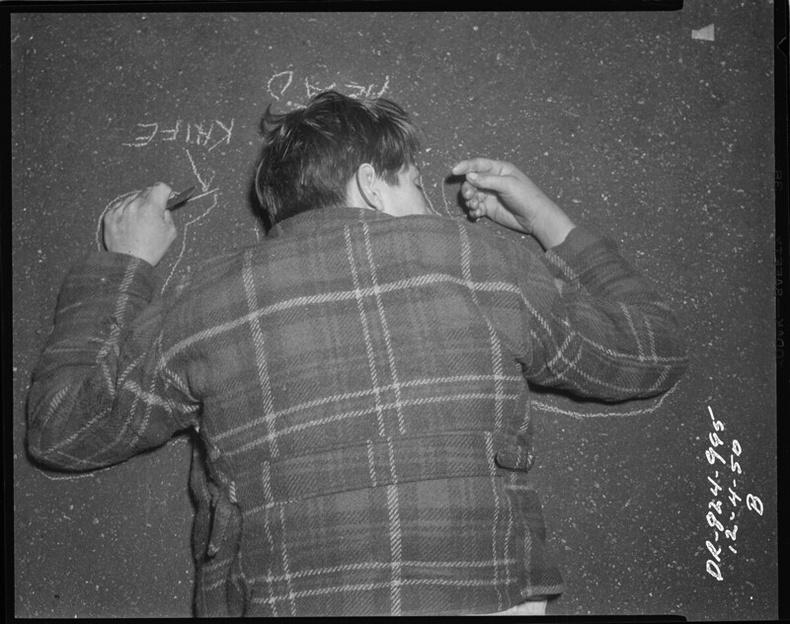 Хутгаар алуулсан хохирогч, 1950
