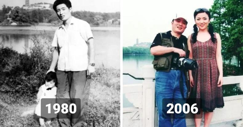 """""""Цаг хугацааны урсгал"""" - Аав охин хоёр 1980 оноос хойш жил бүр нэг газраа зураг авахуулжээ"""