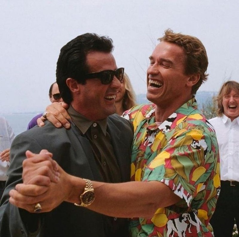 Сильвестр Сталлоне болон Арнольд Шварценеггер нар, 1990 он.