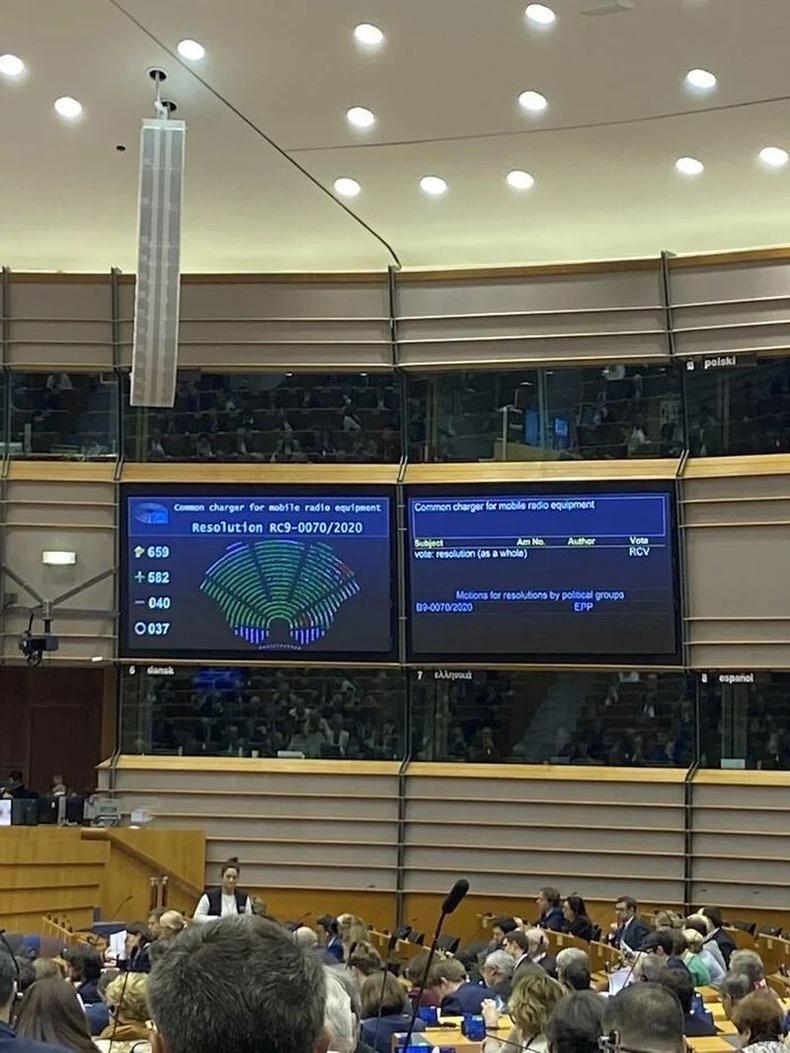 Бүх ухаалаг утас нэг төрлийн цэнэглэгчтэй байх тухай заалтыг Европын парламентийн гишүүд 582 - 40 саналаар дэмжжээ