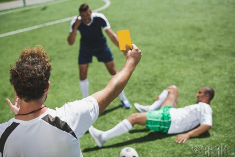 """Хөл бөмбөгийн """"ногоон, шар, улаан"""" карт"""