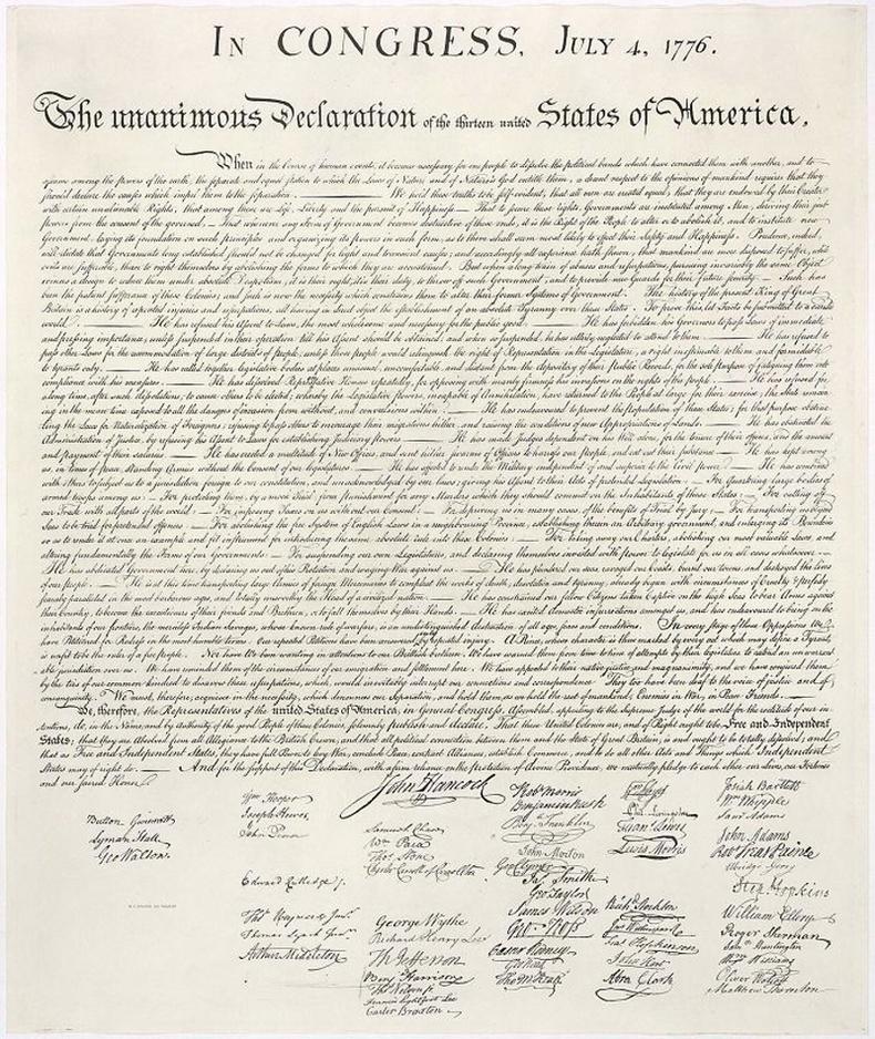 Томас Жефферсоны бичсэн тунхаглалыг Пеннсилваны шар айраг исгэгч Тимоти Матлак цаасан дээр буулгаснаар АНУ мэндэлжээ