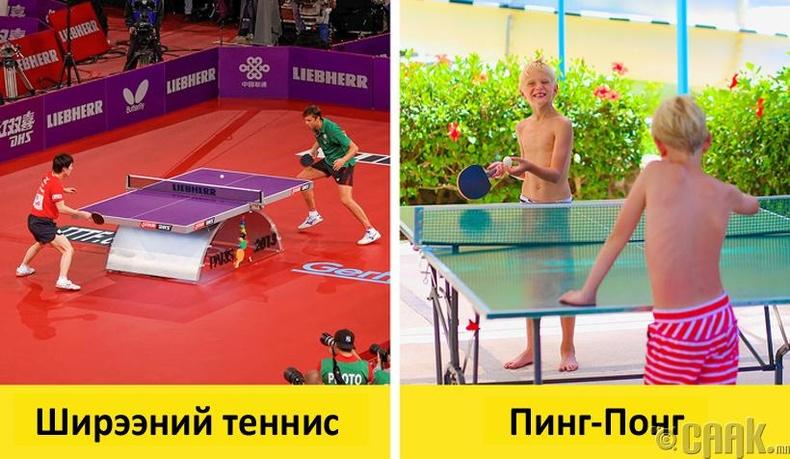 Ширээний теннис болон пинг-понг 2 адилхан уу?