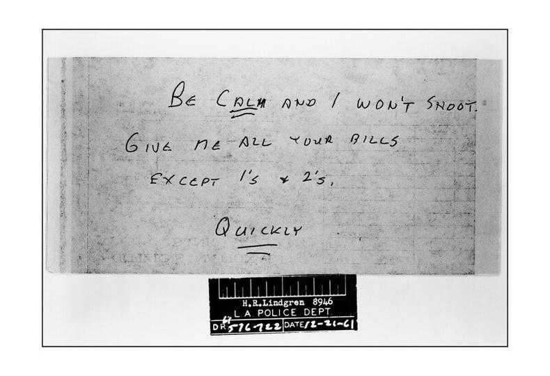 Банк дээрэмдэх үеийн бичвэр, 1961