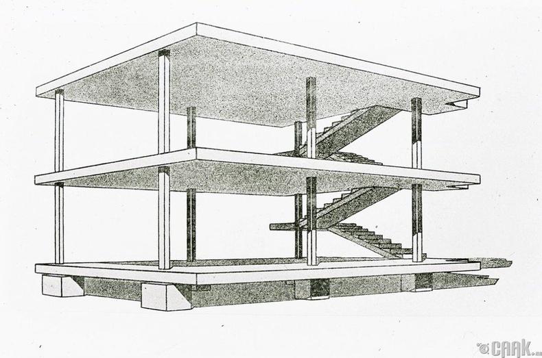 """Ле Корбюзье (Le Corbusier) """"Даалуун барилга"""" - 1914 он"""