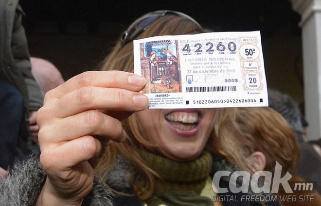 Испаничууд 2,5 тэрбум еврогийн сантай Лоттерейгийн азтангуудыг тодрууллаа