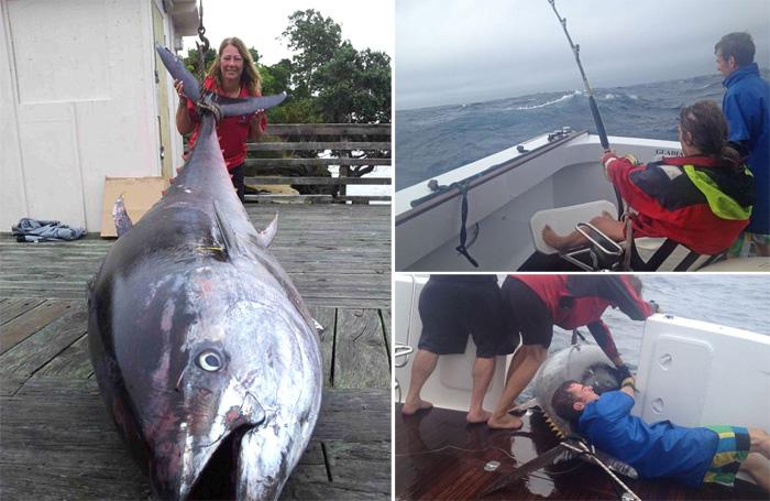 Дэлхийн хамгийн том туна загасыг барьсан бүсгүй